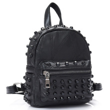 New Women'S Leather Rivet Backpack Mini Punk Style Backpack Stitching Backpack