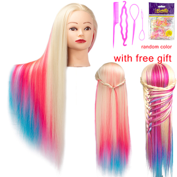 Colorfu Dolls for hairdressers 65cm hair synthetic mannequin head hairstyles Female Mannequin Hairdressing Styling Training Head