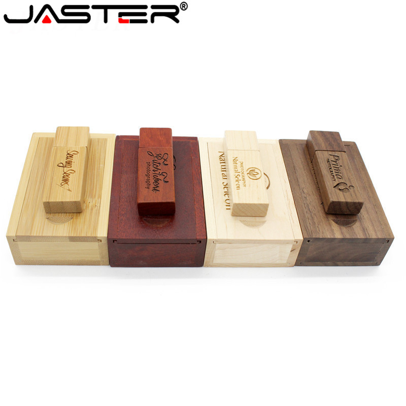 JASTER Carbonized Bamboo Walnut Wooden+box LOGO Usb Flash Drive 4GB 8GB 16GB 32GB 64GB Usb 2.0 Photography Gift U