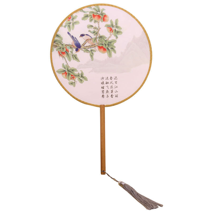 Vintage Round Silk Hand Fan Chinese Style Portable Decorative Lady Fan for Wedding Dance