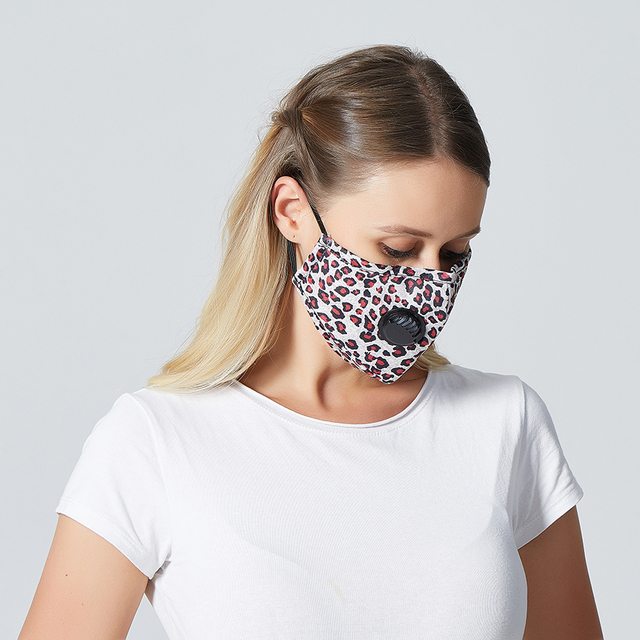 1Set Reusable Mouth Mask Washable Lepard Large Size PM2.5 Filter Mask Anti Dust Face Mask Windproof Mouth-muffle Anti Flu Mask 3