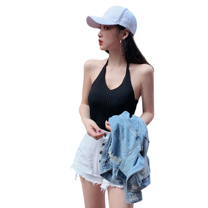 Women Small Sling Retro Halter Stretch Slim V-Neck Sexy Lace Up Solid Color Tanks & Camis Vest One Size New Arrival 6