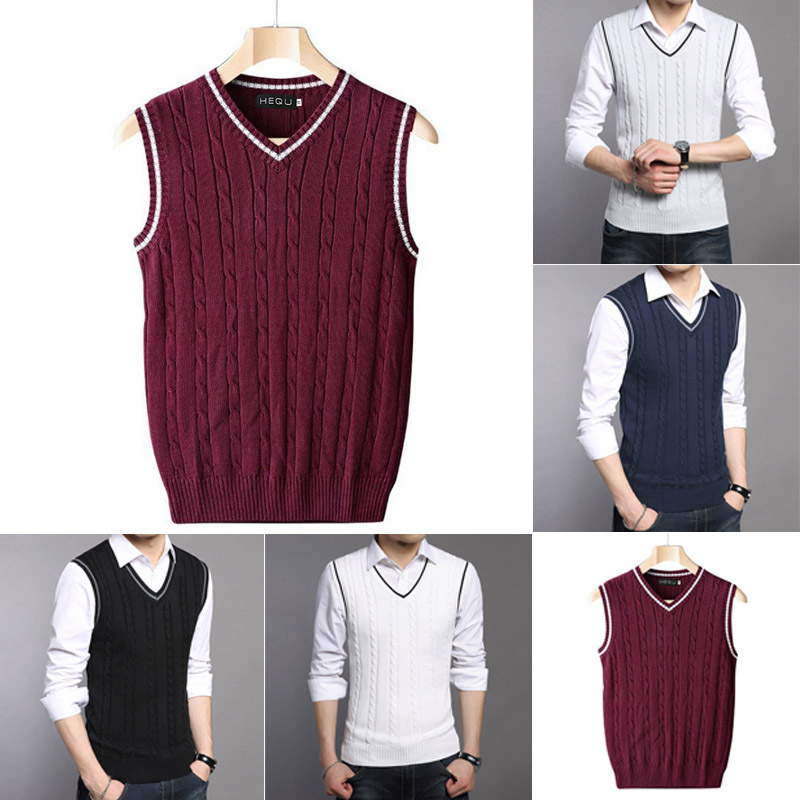 New Sweater Men Spring Autumn Male Sleeveless Pullover Male Jacket Slim Fit Casual Knitted Plus Size Woolen Sweaters Vest