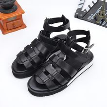 Real Classic Leather 100% Sandalen Mannen Zomer Ademend Open Teen Casual Platform Schoenen Top Kwaliteit Strand Sandalen Plus Size 47(China)