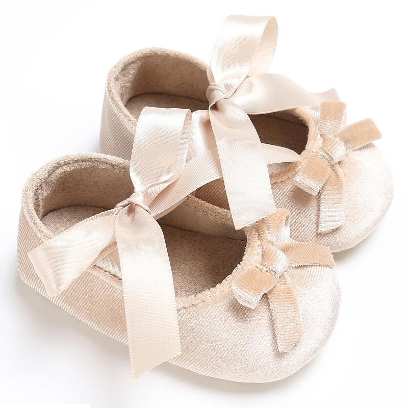 Spring Baby Girlsborn Princess Bowknot Shoes Bow Silk Ribbon Soft Soled Footwear First Walkers