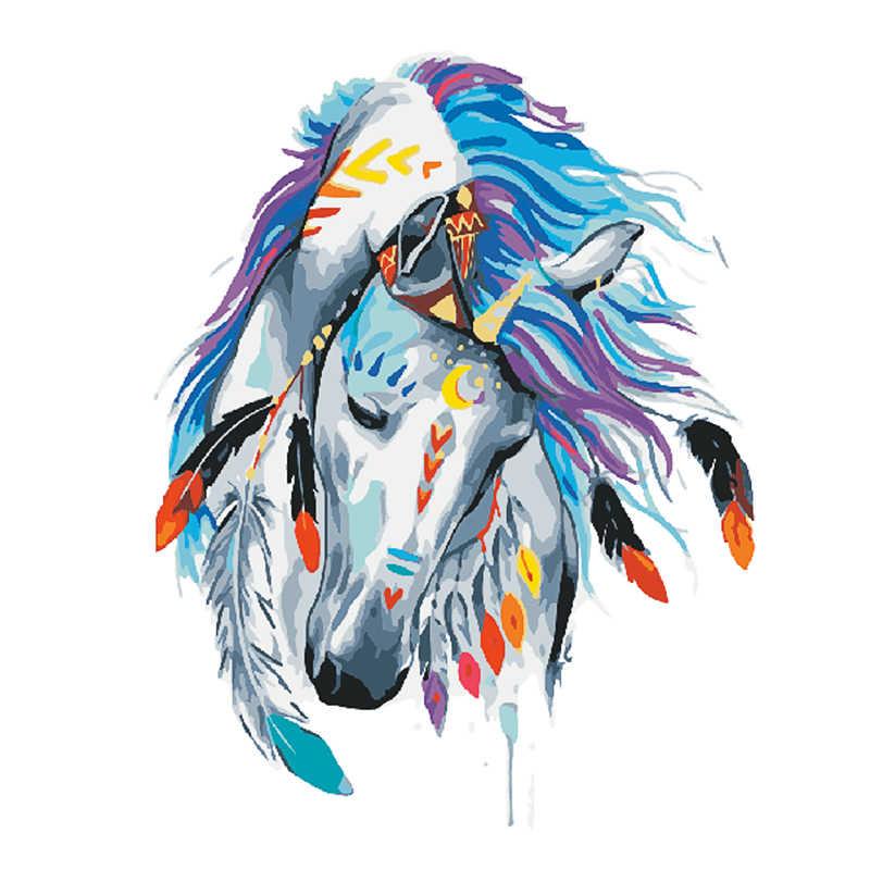 دروبشيبينغ 60x75 سنتيمتر اللوحة بواسطة أرقام DIY الهندي الحصان رئيس الحيوان جدار صورة فنية الاكريليك اللوحة للزينة الزفاف