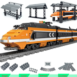 Station City Trains Power Function Building Block Trein DIY Technic Toy Train Stations Bus Stop Model Tracks Rail Railway Bricks