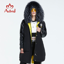 Down-Jacket Hood Winter Coat A-Fur-Collar Fashion-Style Long Women Astrid with AR-3022