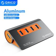 ORICO USB 허브 PC 분배기 USB3.1 Gen2 허브 알루미늄 삼성 갤럭시 S9/S8/노트용, 12V 전원 어댑터 10Gbps 슈퍼 속도