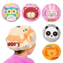 1PC Cute Cartoon Animal Shower Cap Women Kids Bath Sauna Hair Protective Cap Reusable Lace Elastic Band Waterproof Shower Caps