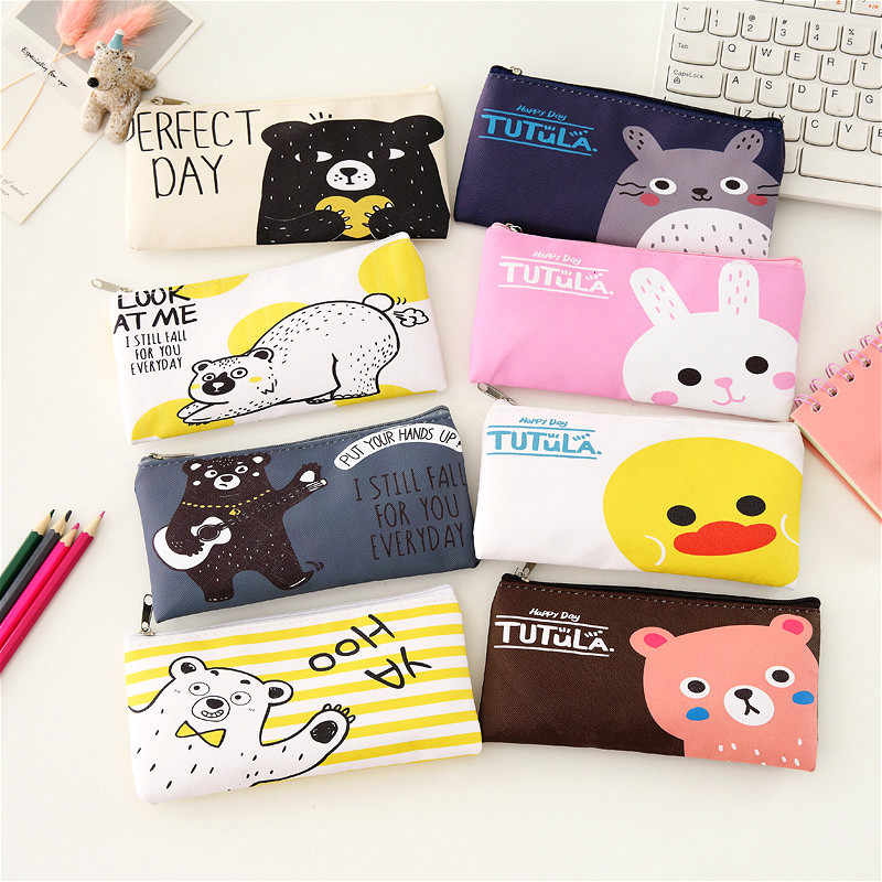2020new 1pcs Canvas Cartoon Pencil Case School Simple Striped Color Cute Kawaii Pencil Bag Pouch Office Students Kids Supplies