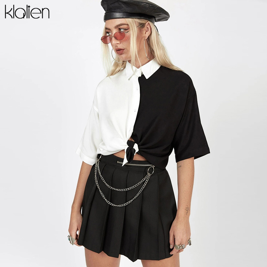 KLALIEN Black White Patchwork T Shirt Women Short Sleeves Tee Casual Simple Fashion College Young Hip Hop Street Style 2020 New