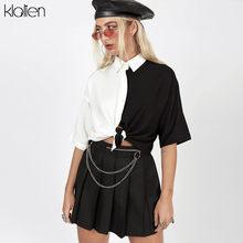 KLALIEN-Camiseta de manga corta para mujer, camiseta informal de retales en blanco y negro, estilo urbano hip hop para jóvenes universitarios, 2020