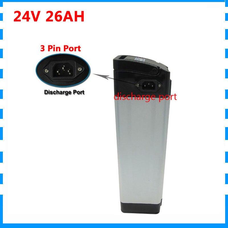 Frais de douane gratuits 500W 24v 26ah batterie au lithium 24V argent poisson Ebike batterie utilisation NCR PF 2900mah cellule 30A BMS avec chargeur 3A
