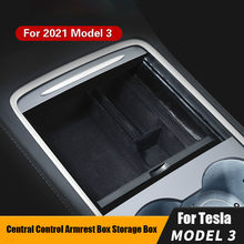 Para tesla modelo 3 y 2021 caixa de armazenamento do braço carro preto organizador contêineres console central reunindo caixa armazenamento console titular