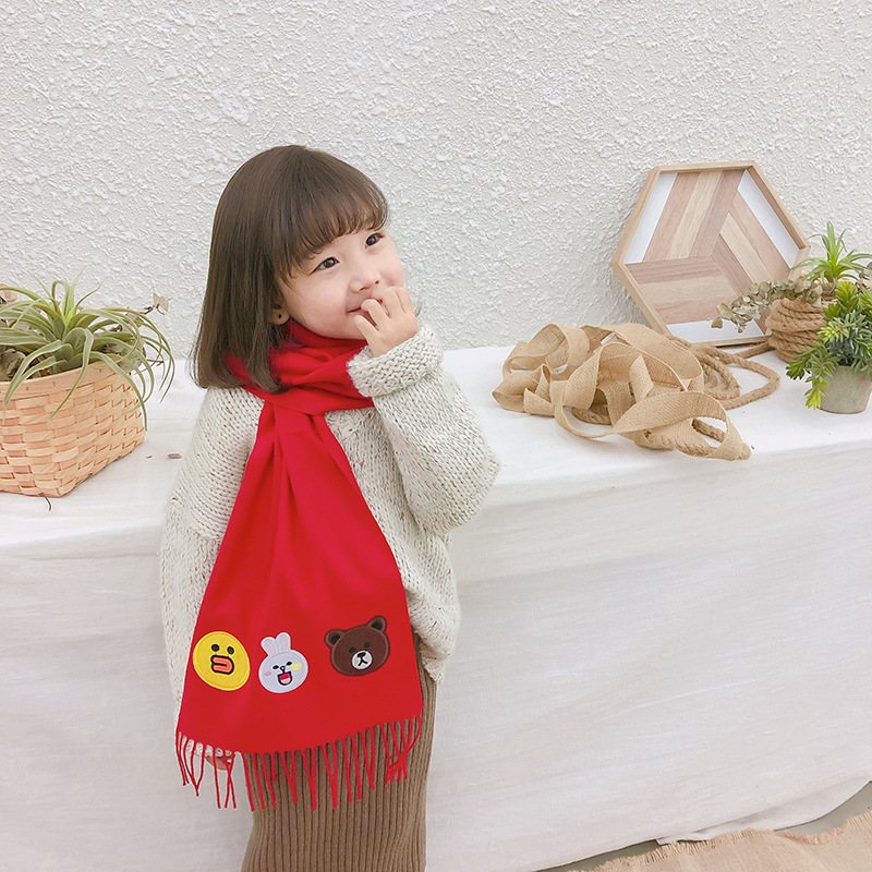 CHILDREN'S Scarf Versatile Cartoon Scarf Faux Cashmere Warm Shawl Autumn & Winter Korean-style Thick Scarf Long