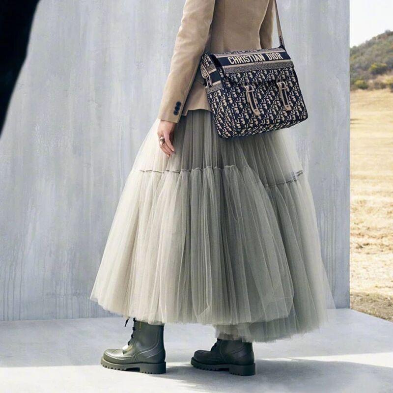 Treutoyeu Design Runway Pleated Tulle Skirt Black Grey High Waist Luxury Soft Mesh Maxi Long Skirts For Women Jupe Longue Femme