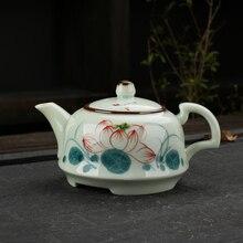 Расписанный вручную керамический чайный горшок кунг-фу, керамический чайный сервиз из целадона, чайный сервиз Кунг-фу, Одноцветный чайный сервиз, ручная роспись, чайный сервиз, горшок 175 мл