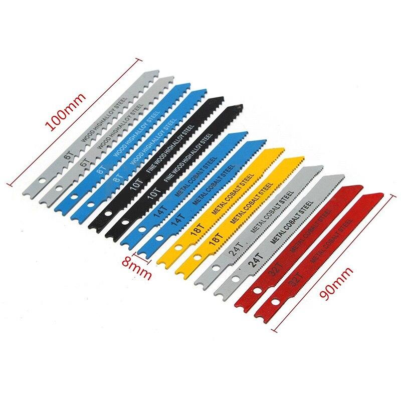 14pcs Assorted T-shank Jigsaw Blade Set Metal Steel Jigsaw Blades Set Fitting For Plastic Woodworking Tools Saw Blades