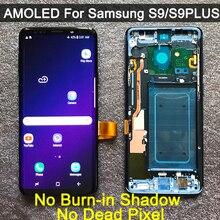 Orijinal AMOLED değiştirme SAMSUNG Galaxy S9 S9 + LCD ekran dokunmatik ekran Digitizer çerçeve ile G960 G965 s9 artı lcd