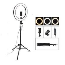 26 см/10 дюймов светодиодная кольцевая лампа для селфи с регулируемой яркостью, светодиодная кольцевая лампа для фото, видео камеры, телефона, световое кольцо для живого YouTube, заполняющее освещение