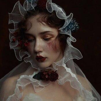Vintage Crimping Edge Blusher Brides Veil For Woman Bridal Tulle Veil Wedding Accessories Veu De Noiva