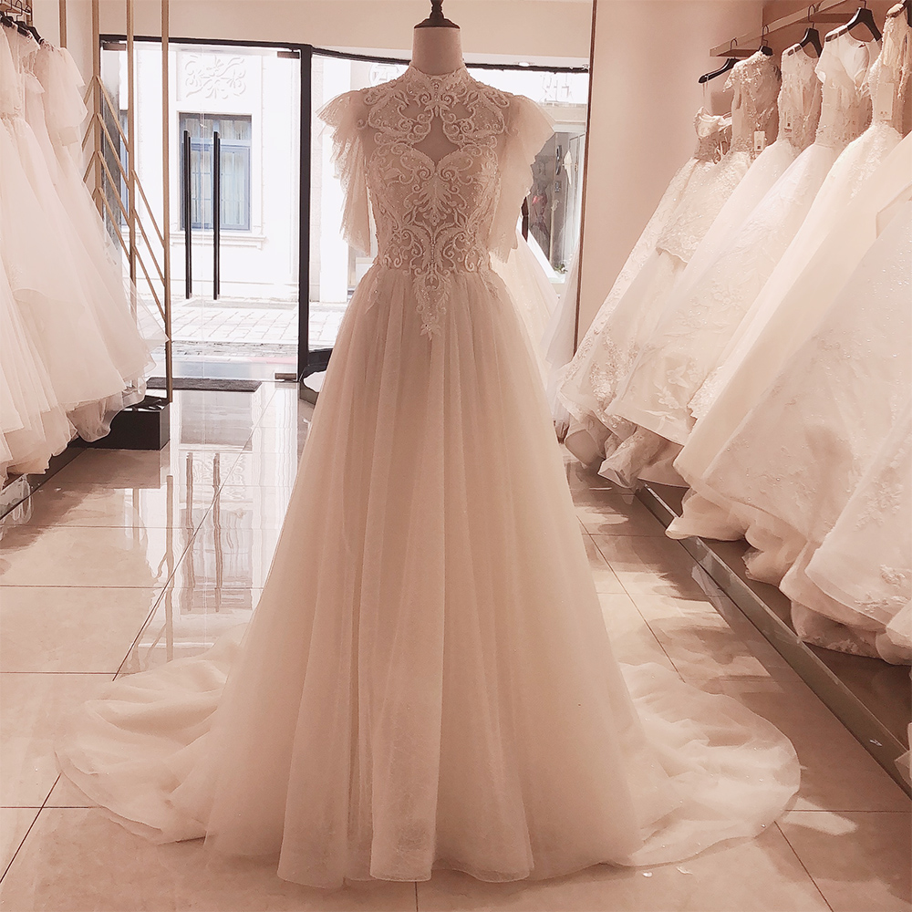 SL-5092 SuLi High Neck Lace Up Wedding Dress 2020 New Court Train Bride Dresses Appliques Pearl Wedding Gowns(China)