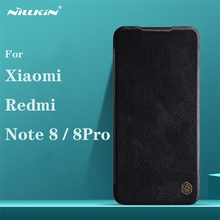 For Xiaomi Redmi Note 8 Pro Flip Case Nillkin Qin Vintage Leather Flip Cover Card Pocket Wallet Case For Redmi Note8 Phone Bags