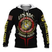 Tessffel America Marine Camo Skull Soldier Army Tracksuit NewFashion Pullover 3DPrint Unisex Zip/Hoodies/Sweatshirts/Jacket A-11