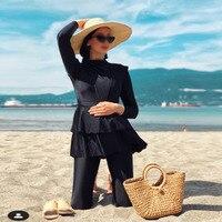 3 Pieces Plus Size Muslim Swimwear 2021 Whole Black Ruffle Burkini With Bra Padding Swimsuits Women Maillot De Bain Femme 1