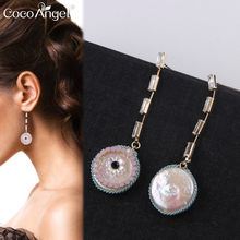 CocoANGEL Natural Fresh Water Pearl Colorful Zircon Copper & Electroplating Sterling Drop Earring Silver Needles For Women