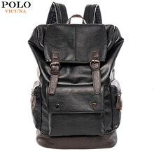 VICUNA POLO basit Patchwork büyük kapasiteli erkek deri seyahat için sırt çantası rahat mochila erkekler Daypacks deri seyahat sırt çantası