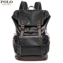 VICUNA بولو بسيط المرقعة سعة كبيرة رجالي جلدية حقيبة ظهر للسفر عادية mochila الرجال daypack جلدية ترافل على ظهره