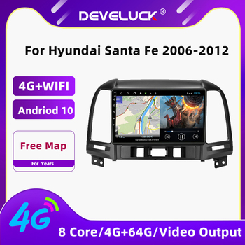 Android 10.0 Car Radio Multimedia Video Player For Hyundai Santa Fe 2006-2012 GPS Navigation 2 Din 48EQ Stereo 4G Net+Wifi FM AM image