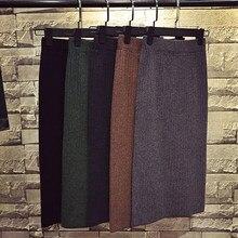 Faldas largas de punto para mujer, Falda cálida de Tubo, Negra, verde marrón, Vintage, por debajo de la rodilla, de invierno, 2020