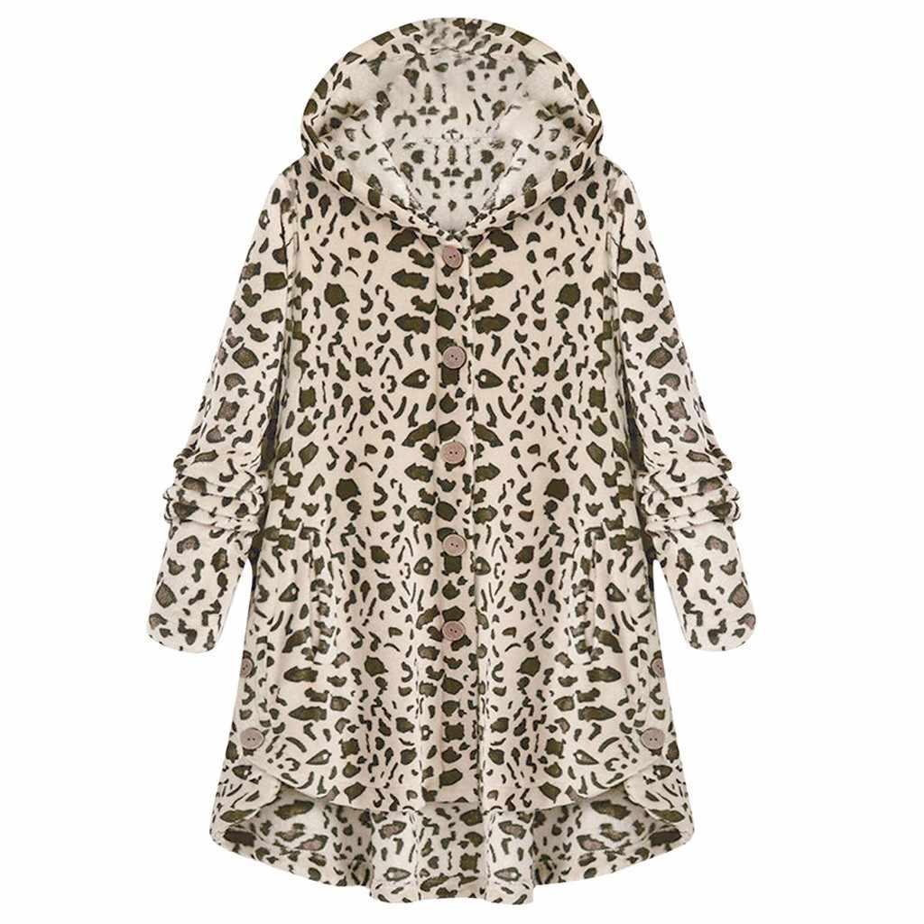 Женский свитшот на пуговицах леопардовое пальто флисовый ассиметричный подол пуловер с капюшоном Топ свитер с длинными рукавами осенне-зимние джемперы