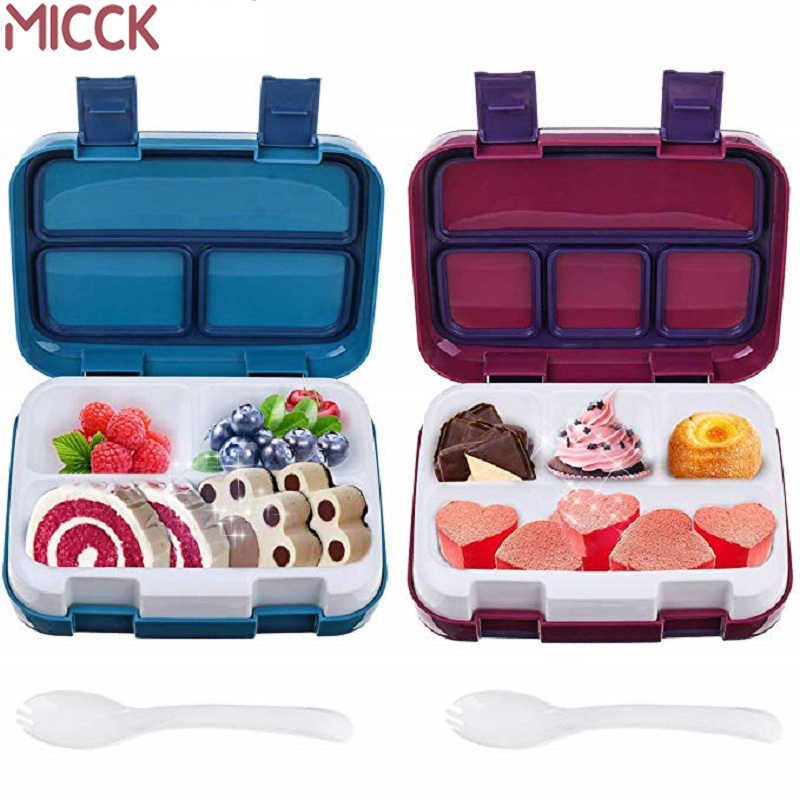 MICCK Lunch Box For Kids Fruit Food Container Microwave Portable School Compartment Leakproof Bento Box Children Kitchen Storag