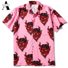 Satan Devil Printed Short Sleeve Shirts Men Women New Summer Hawaiian Casual Shirt Harujuku Hip Hop Japanese Streetwear Shirt(China)