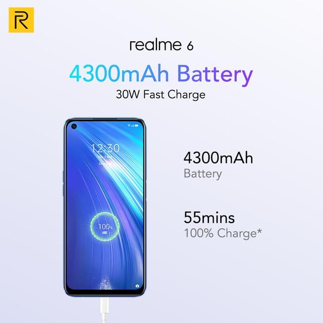 realme 6 8GB 128GB NFC Global Version 90Hz Display Helio G90T 30W Flash Charge 4300mAh Battery 64MP 6