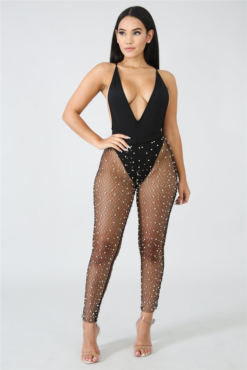 U Women Long Pencil Pants Pearl Mesh Transparent Sexy Flirty Apparel Elastic Bodycon Trousers Babydoll Party NightClub Costume