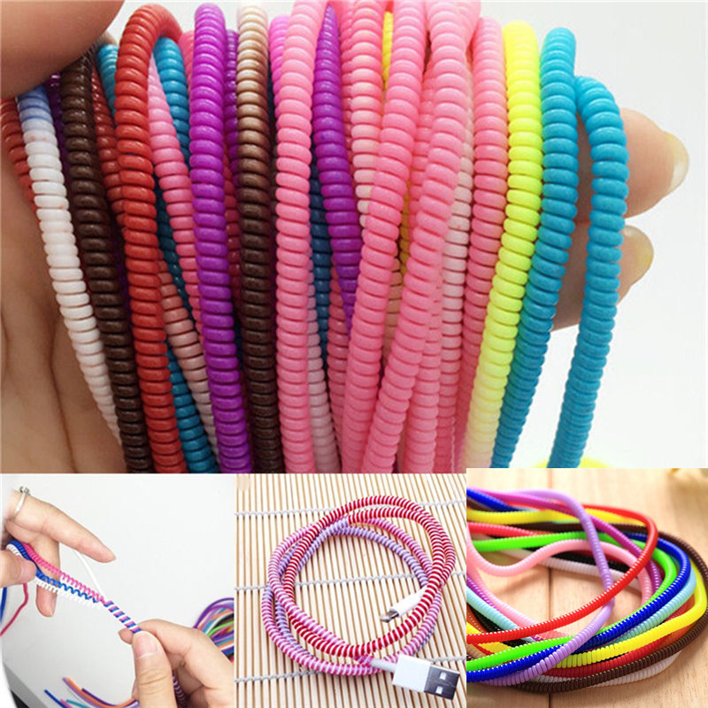 10Pcs/lot Spiral USB Data Charger Cable Cord Protector Wrap Cable DIY Winder For iPhone 5 6 6S 7 8 Plus For Samsung HTC 50cm