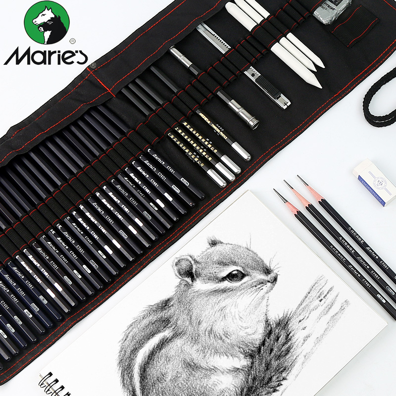 25Pcs Sketch Painting Set ,Drawing Pencil Sketch Painting With Canvas Bag Pencils Charcoal Earser Extender Utility Knife