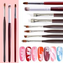 1pc UV Gel brosse à ongles acrylique dessin peinture stylo Ombre brosse pour ongles dégradé manucure Nail Art outil 8 conception LAH001-008-1