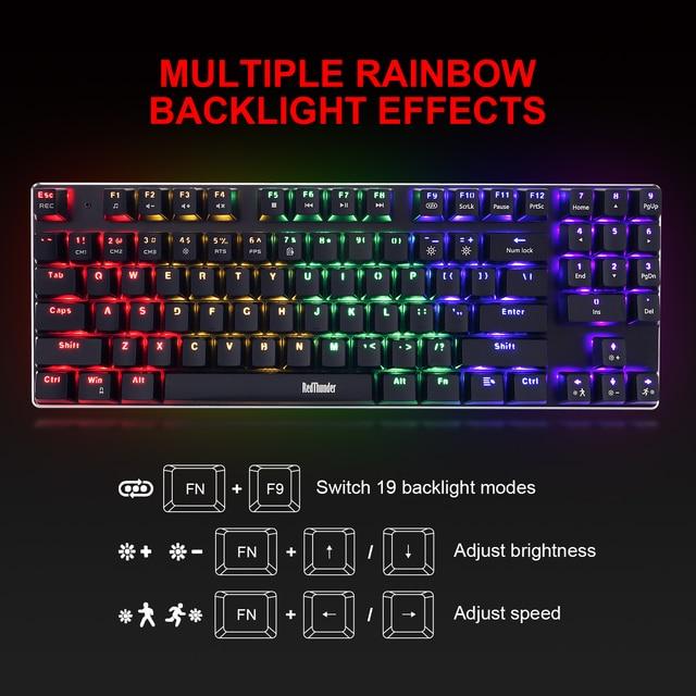 RedThunder K89 Mechanical Gaming Keyboard with Numeric Keypad Blue Switch Programmable RGB LED Backlight for Desktop PC Gamer 2