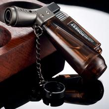Turbo latarka zapalniczki akcesoria do palenia przezroczyste widoczne gazu zapalniczki Cigar zapalniczki gadżety dla mężczyzn elektronicznych tanie tanio LACHOUFFE Lighters Gospodarstwa domowego Color mixing Metal Butane