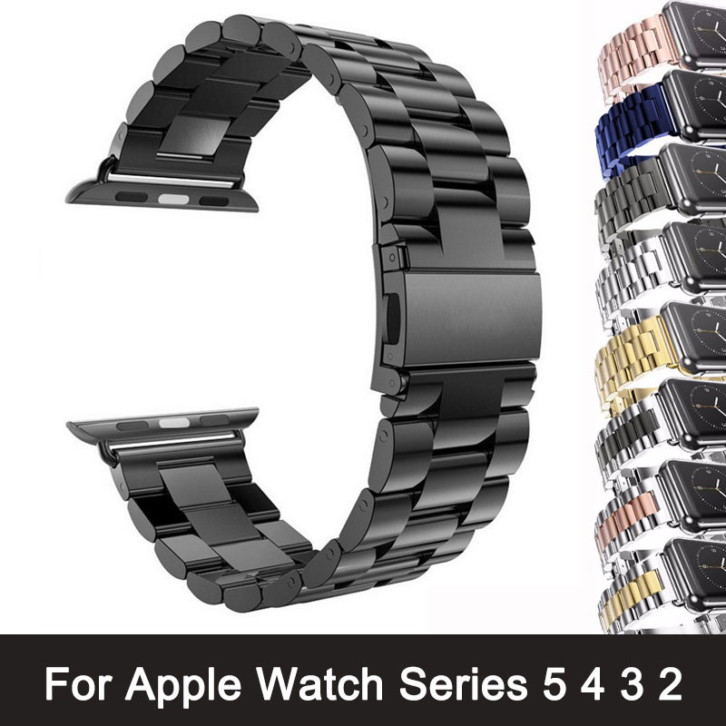 For Apple Watch Series 5 4 3 2 Band Strap 42mm 40mm 44mm Black Rustfritt stål Armbånd Strap Adapter for iWatch Band 4 3 38mm
