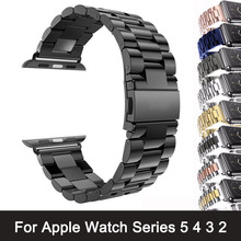 For Apple Watch Band 42mm Black Gold Stainless Steel Bracelet Buckle Strap Clip Adapter for Apple Watch Band 38mm for iWatch все цены