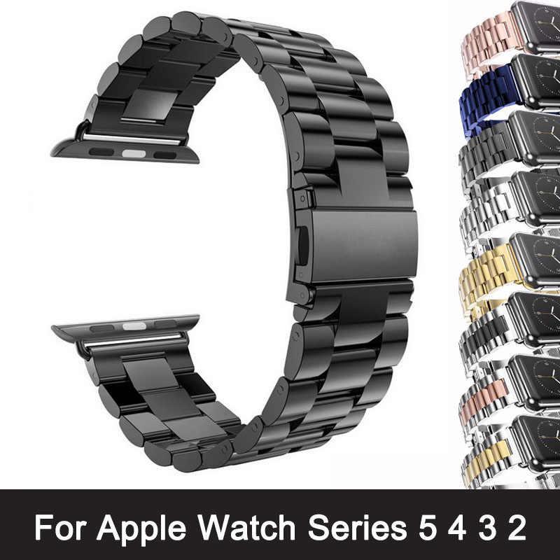 Para Apple Watch Series 5 4 3 2 Correa 42mm 40mm 44mm adaptador de pulsera de acero inoxidable negro para iWatch Band 4 3 38mm
