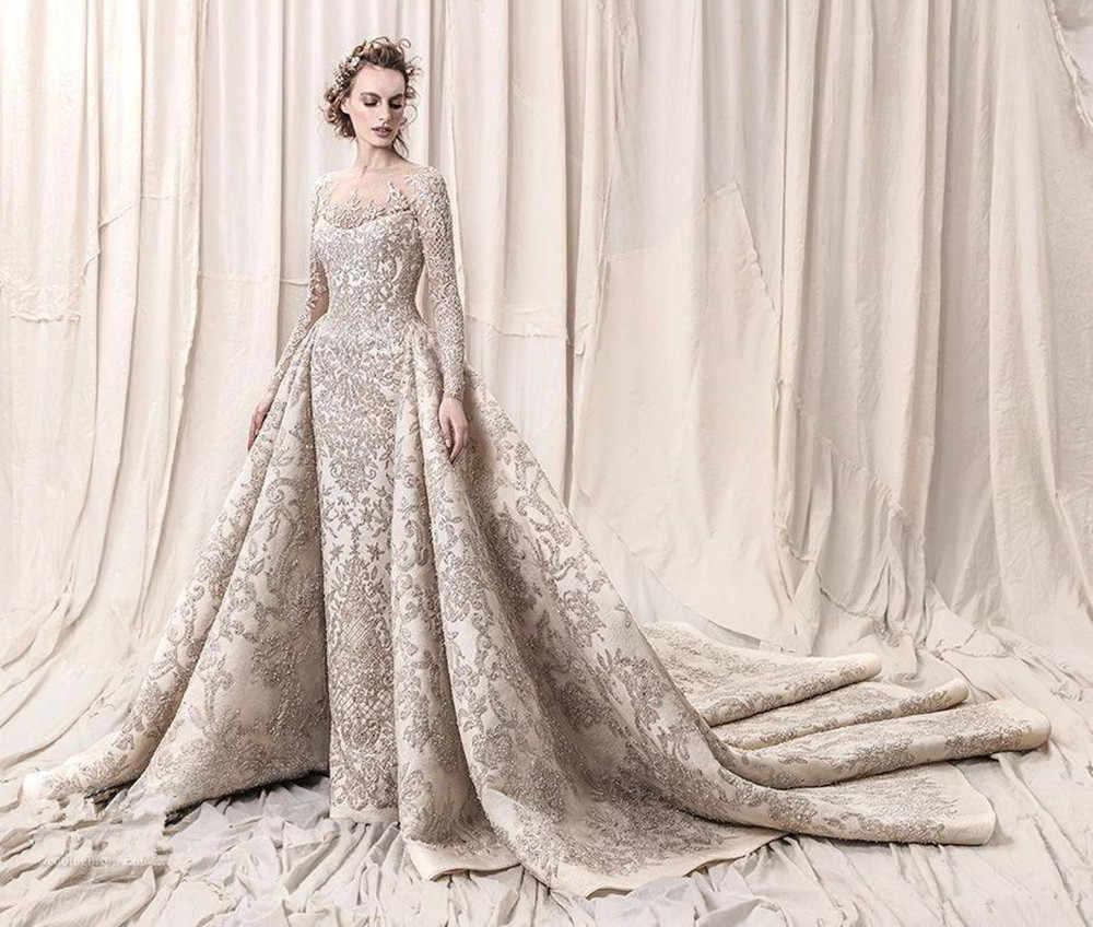 Cao Cấp Hạt Kim Sa Lấp Lánh Phối Ren Váy Áo Lãng Mạn Năm 2020 Một Đường Dài Tay Cưới Cô Dâu Đồ Bầu Áo Dây De Mariee