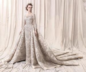 Image 5 - Perline di lusso Paillettes Da Sposa In Pizzo Abiti Da Sposa 2020 Romantic UNA Linea A Manica Lunga Da Sposa Abiti Da Sposa Robe De Mariee